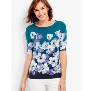 TALBOTS Floral Sweater NEW Teal and Purple